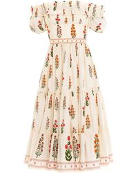 Agua by Agua Bendita Banana Dahlia Cotton Poplin Off-the-shoulder Midi Dress - White