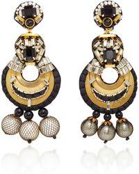 Naeem Khan - Onyx And Metal Mesh Covered Pearl Chandelier Earrings - Lyst