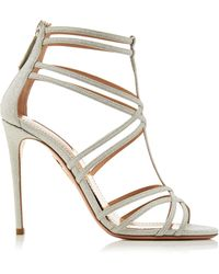 Aquazzura Princess Glittered Leather Sandals - Metallic