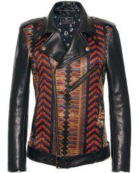 Etro Brocade Moto Leather Jacket - Black