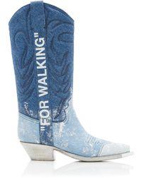 Off-White c/o Virgil Abloh Denim Cowboy Boots - Blue