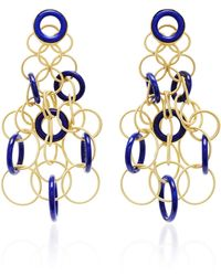 Buccellati Hawaii 18k Gold And Lapis Earrings - Blue