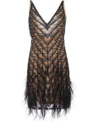 Naeem Khan Feather-trim Sequined Cocktail Dress - Metallic