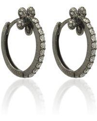 Colette - Mini Petite Flower 18k Black Gold And Diamond Hoop Earrings - Lyst
