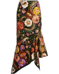 Tom Ford Embroidered Cotton Midi Skirt - Multicolour