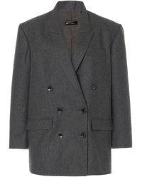 Isabel Marant Oladimia Oversized Wool Double-breasted Blazer - Grey