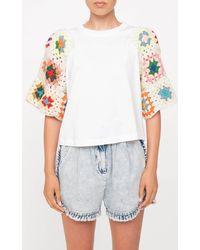 Sea Gabriela Crochet-sleeve Cotton T-shirt - White