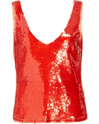 Sally Lapointe Sequin Embroidered Scoop Neck Tank