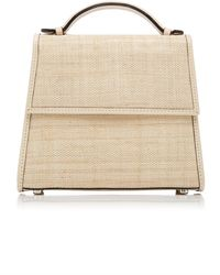 Hunting Season Leather-trimmed Straw Tote - Natural