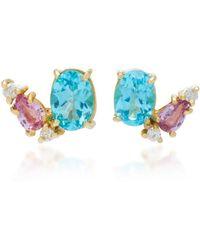 Carolina Neves 18k Gold, Apatite, Sapphire And Diamond Earrings - Blue