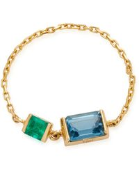 Yi Collection - 18k Gold Emerald And Topaz Chain Ring - Lyst