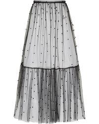 Macgraw Flutter Beaded Tulle Midi Skirt - Black