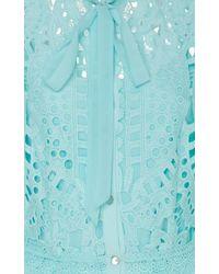 Temperley London Berry Lace Neck Tie Dress - Blue