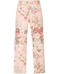 Zimmermann Floral-print Cropped Jeans - Pink