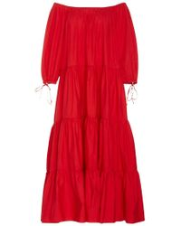 Mds stripes Red Tiered Peasant Dress in Red | Lyst