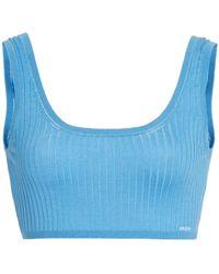 Prada Ribbed Silk Cropped Bra Top - Blue