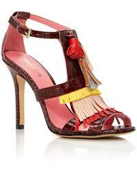 Paule Ka - Leather Heeled Sandals With Tassles - Lyst