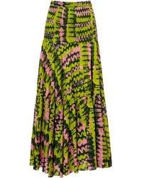 RHODE Jana Tiered Ruched Cotton Maxi Skirt - Green