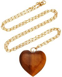 Haute Victoire 18k Gold And Tiger's Eye Necklace - Brown