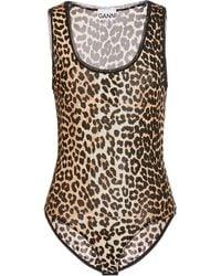 Ganni Leopard-print Jersey Bodysuit - Multicolour