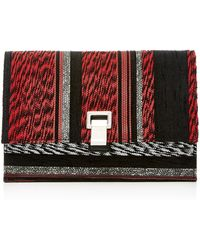 Proenza Schouler - Small Mixed Woven Lunch Bag In Red & Black Mix - Lyst