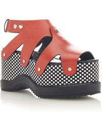 Proenza Schouler Leather Platform Sandals - Red