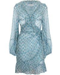 Cloe Cassandro Kimi Silk Wrap Dress - Blue