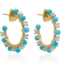 Irene Neuwirth 18k Gold, Diamond And Turquoise Hoop Earrings - Metallic