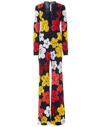 Naeem Khan Beaded Floral Plunging V-neck Wide-legged Jumpsuit - Multicolour