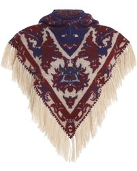 Paco Rabanne Fringe-trimmed Wool Jacquard Hooded Capelet - Multicolour