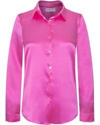 Adriana Iglesias - Julie Collared Silk Satin Shirt - Lyst