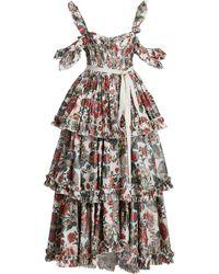 Brock Collection - Samanta Floral Taffeta Cold-shoulder Maxi Dress - Lyst