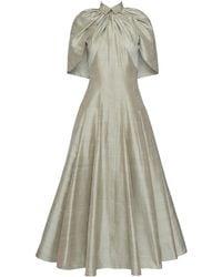 Brandon Maxwell Gingham Silk Caplet Midi Dress - Green