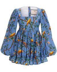 Agua by Agua Bendita Avena Printed Cotton-poplin Mini Dress - Blue