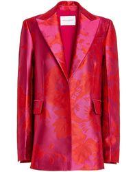 Carolina Herrera Floral Silk-jacquard Single-breasted Blazer - Red