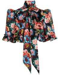 The Vampire's Wife The Mini Crusader Tie-neck Floral Silk Cape - Blue