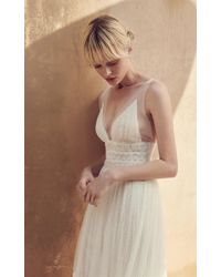 Costarellos Bridal - V Neck Illusion-strap Fit And Flare Gown - Lyst