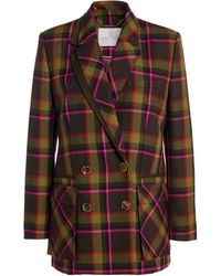 Ralph & Russo Ralph & Russo Wool Check Double-breasted Blazer - Green