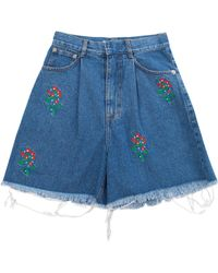 Ksenia Schnaider - Floral Embroidered Medium Wash Denim Shorts - Lyst