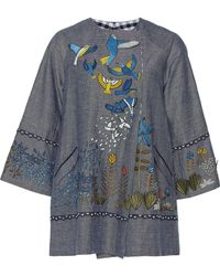 Rahul Mishra Tropical Forest Double-breasted Blazer - Blue