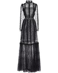 Costarellos Anice Floral-embroidered Dotted-tulle Gown - Black