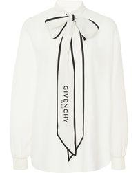 Givenchy Logo-print Tieneck Silk Blouse - White