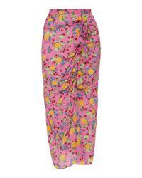 Saloni - Kelly Ruffled Printed Silk Crepe De Chine Midi Skirt - Lyst