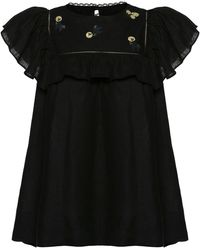 Lug Von Siga Mia Embroidered Linen Top - Black
