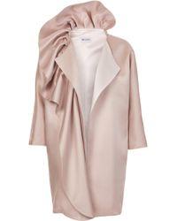 Maticevski Wilderness Satin Ruffle Coat - Pink