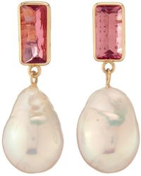 Objet-a Disco 18k Gold, Pearl And Pink Tourmaline Earrings