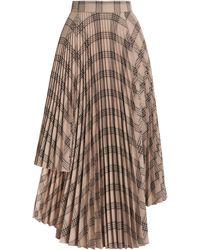 ROKH Asymmetric Pleated Plaid Midi Skirt - Brown