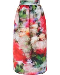 Adam Lippes - Printed Crepe Midi Ball Skirt - Lyst