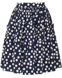 Carolina Herrera Polka-dot Print Ruffled Cotton Skirt - Blue
