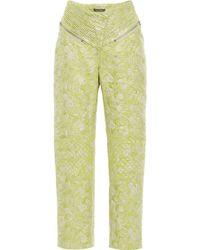 Zac Posen Hosta Jacquard High Waisted Trousers - Green